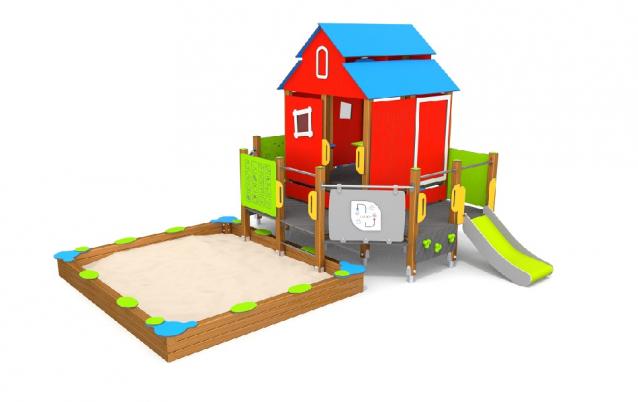 Góra Domek Eco z piaskownicą - Playtime Group - wyposażenie placów zabaw BY42